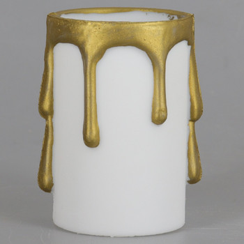 2in. Long Plastic E-26 Base Candle Socket Cover - Edison - White with Gold Drip