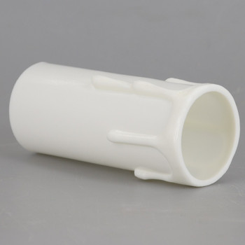 3in. Long Plastic E-26 Base Candle Socket Cover - Edison - White Drip