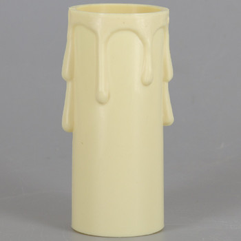 3in. Long Plastic E-26 Base Candle Socket Cover - Edison - Ivory Drip