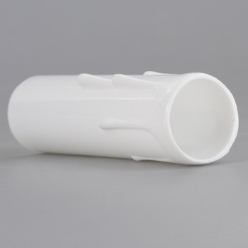 3-1/2in. Long Plastic E-12 Base Candle Socket Cover - Candelabra - White Drip