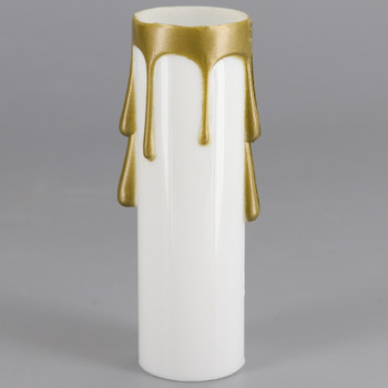 3in. Long Plastic E-12 Base Candle Socket Cover - Candelabra - White with Gold Drip