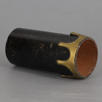 3in. Long Plastic E-26 Base Candle Socket Cover - Edison - Black with Gold Drip