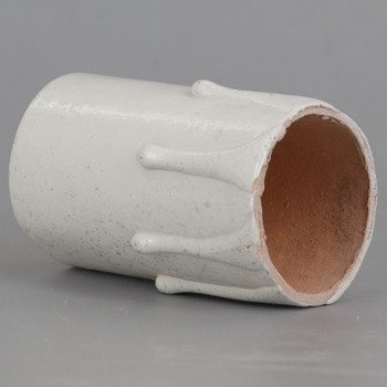 2in. Long Plastic E-26 Base Candle Socket Cover - Edison - White Drip