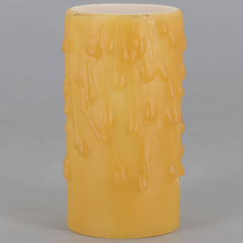 3in. Beeswax E-26 Base Candle Socket Cover - Edison - Amber Drip