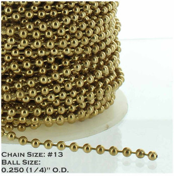 #13 Steel 1/4in. Thick Beaded Chain - Brass Plated