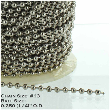#13 Steel 1/4in. Thick Beaded Chain - Nickel Plated