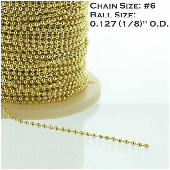 #6 Steel 5/32in. Thick Beaded Chain - Brass Plated