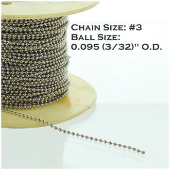 #3 Steel 3/32in. Thick Beaded Chain - Nickel Plated