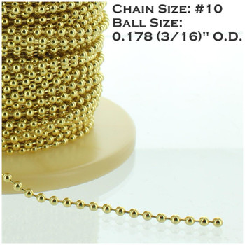#10 Steel 3/16in. Thick Beaded Chain - Brass Plated
