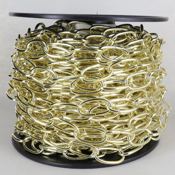 100ft. Roll - 9 Gauge (1/8in.) 1/8in. Thick Steel Oval Lamp Chain - Brushed Brass Plated Finish