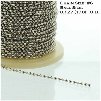 #6 Steel  5/32in. Thick Beaded Chain - Nickel Plated