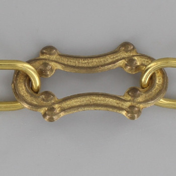1/16in. Thick Decorative Cast Brass Scroll Link Lamp Chain - Unfinished Brass