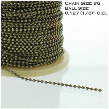 #6 Plated Steel 5/32in. Thick Beaded Chain - Antique Brass Finish