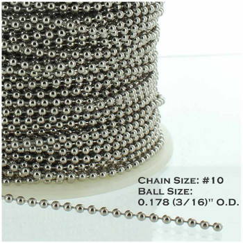 #10 Steel  3/16in. Thick Beaded Chain -  Nickel Plated