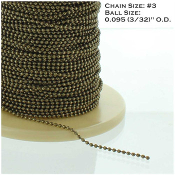 #3  Steel 3/32in. Thick Beaded Chain - Antique Brass Finish