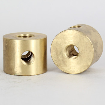 1/4ips X (2)1/8ips Threaded - 1-1/4in Diameter - 4 Way Disc Armback - Unfinished Brass