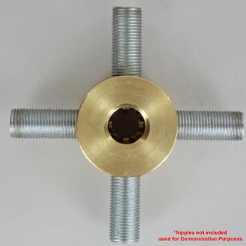 4 - 1/8ips Side Holes x 1/4ips Female Top x 1/8ips Female Disc Armback - Unfinished Brass