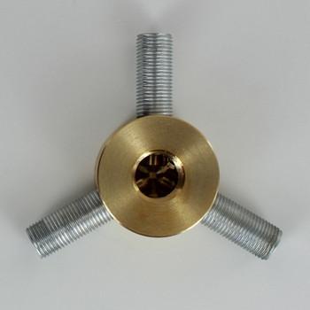 3 - 1/8ips Side Holes x 1/4ips Female Bottom Hole Disc Armback - Unfinished Brass