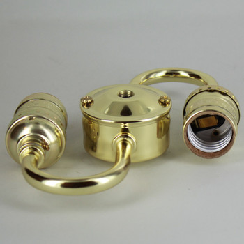 2 Light 1/8ips Threaded Keyless Cluster with 14in. Leads - Brass Plated Finish
