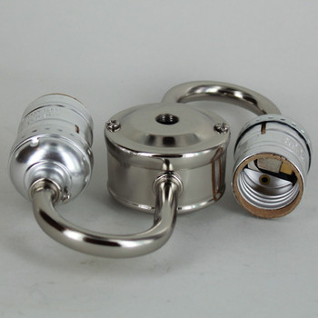 2 Light 1/8ips Threaded E26 Keyless Cluster with 14in. Leads - Nickel Plated Finish