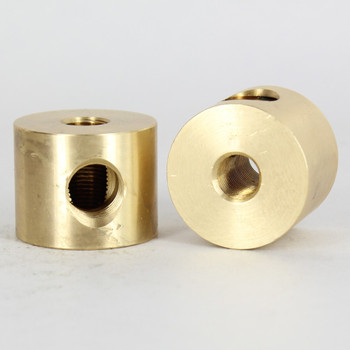 1/8ips X 1/4ips Threaded - 1-1/4in Diameter 4 Way  Disc Armback - Unfinished Brass
