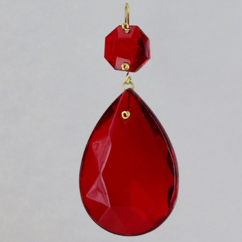 50mm (2in.) Red Crystal Pear Drop with Jewel and Brass Clip