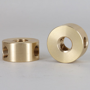 1/4ips x (3) 1/8IPS (90 Degree) Threaded - 1-1/4in Diameter Disc Armback - Unfinished Brass