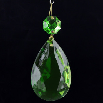 50mm (2in.) Green Crystal Pear Drop with Jewel and Brass Clip