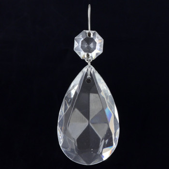 50mm (2in.) Crystal Pear Drop with Jewel and Nickel Plated Clip