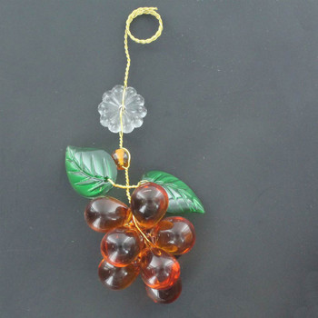 Amber Crystal Grape Cluster with 2 Leaves and Rosette
