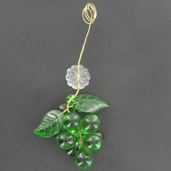 Green Crystal Grape Cluster with 2 Leaves and Rosette