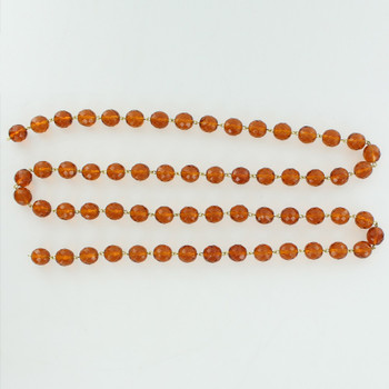 12mm. Amber Crystal  Cut and Faceted Round Beaded with Brass Pin Chain