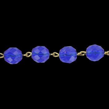 12mm. Blue Crystal  Cut and Faceted Round Beaded with Brass Pin Chain