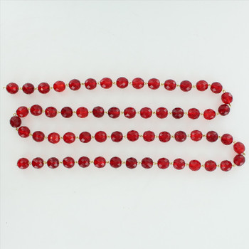 12mm. Red Crystal  Cut and Faceted Round Beaded with Brass Pin Chain