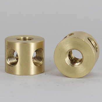 (4)1/4F IPS Side Holes x 1/4F Top Hole x 1/4F Bottom Hole x 1-1/4in. O.D. Unfinished Brass 4- Way Straight Armback