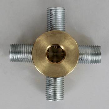 4 - 1/4ips Side Holes x 1/4ips Bottom Hole Disc Armback - Unfinished Brass