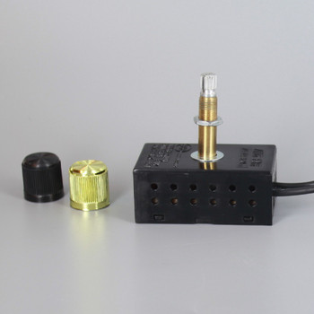 300W Max - 120V Rotary Dimmer Switch with Plastic Housing and 1in long shank