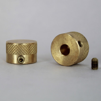 3/4in. x 1/2in. Diamond Knurled Dimmer Knob Unfinished Brass With Set Screw