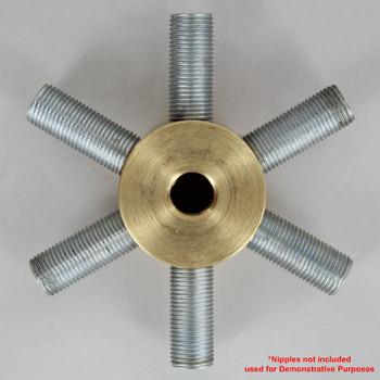 6 - 1/8ips Side Holes x 1/4ips Top Hole x 1/8ips  Bottom Hole Disc Armback - Unfinished Brass