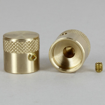 11/16in H x 3/4in W Knurled Dimmer Knob Unfinished Brass With Set Screw
