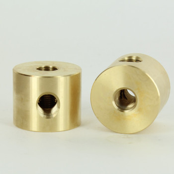 1 - 1/8IPS Side Hole x 1/8ips Top and Bottom Hole Disc Armback - Unfinished Brass
