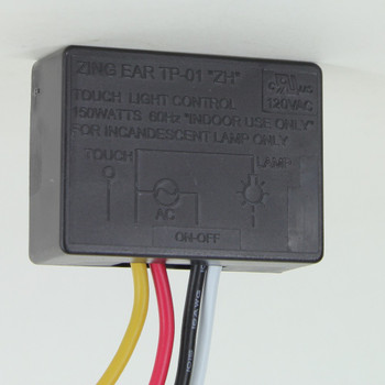On-Off Touch Light Control Rated Maximum 150W 60HZ Indoor Use Only. UL Recognized.