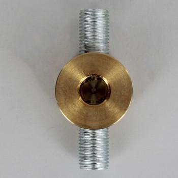 2 - 1/4ips Side Holes x 1/4ips Bottom Hole Disc Armback - Unfinished Brass