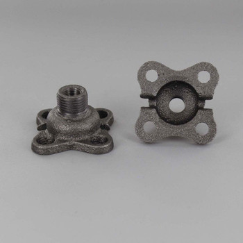 Cast Iron Flange with 3/8 Male and 1/8 Female Threaded Center