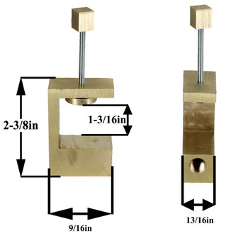 Unfinished Brass Book Shelf Clamp with Square Knob