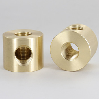 1 - 3/8ips Side Hole X 3/8ips Top and Bottom Holes Disc Armback - Unfinished Brass