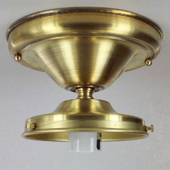 5in. Fitter Unfinished Brass Semi-Flush Lighting Fixture