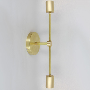 18 in. Long 2 Light Flush Mount Fixture - Unfinished Brass