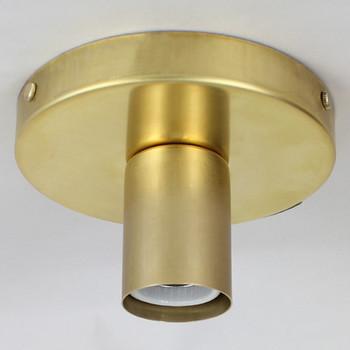 1 Light Flush Surface Mount Raw Brass Fixture