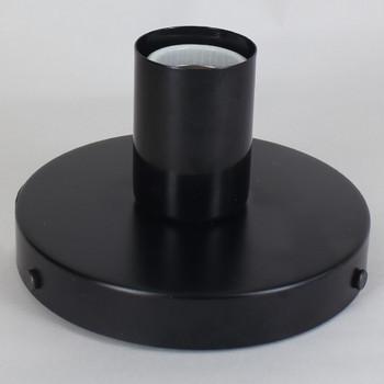 1 Light Flush Surface Mount Fixture - Black PowderCoat Finish